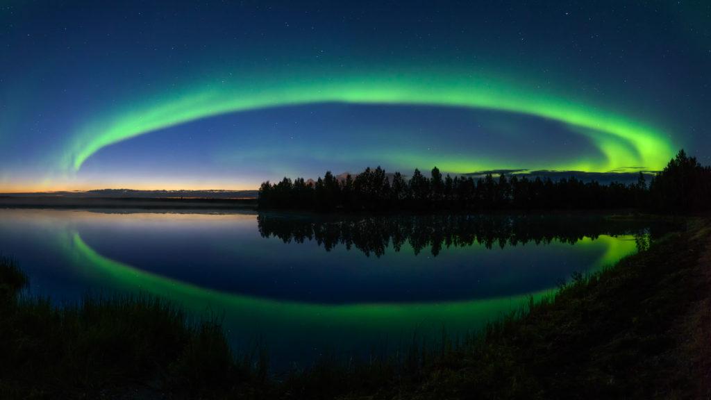 Auroras above River Iijoki ©2017 Mikko Leinonen